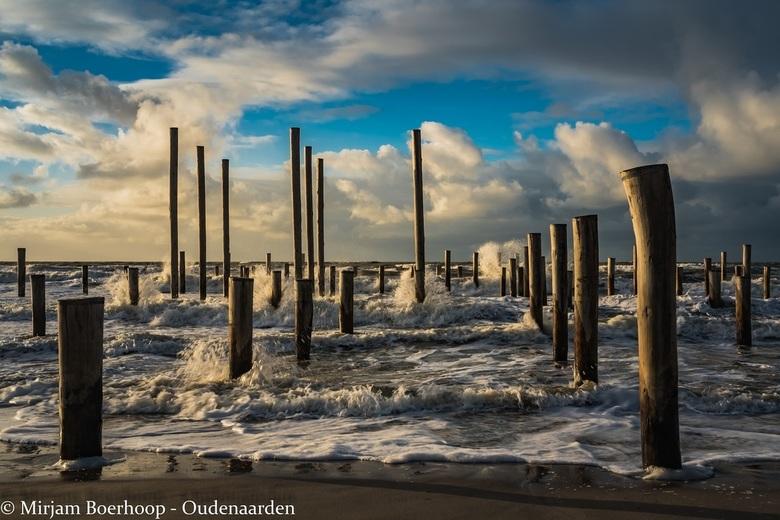 Palendorp in de zee -