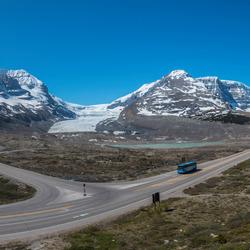 Panorama van het Columbia Icefield en de Athabasca Glacier, Canada