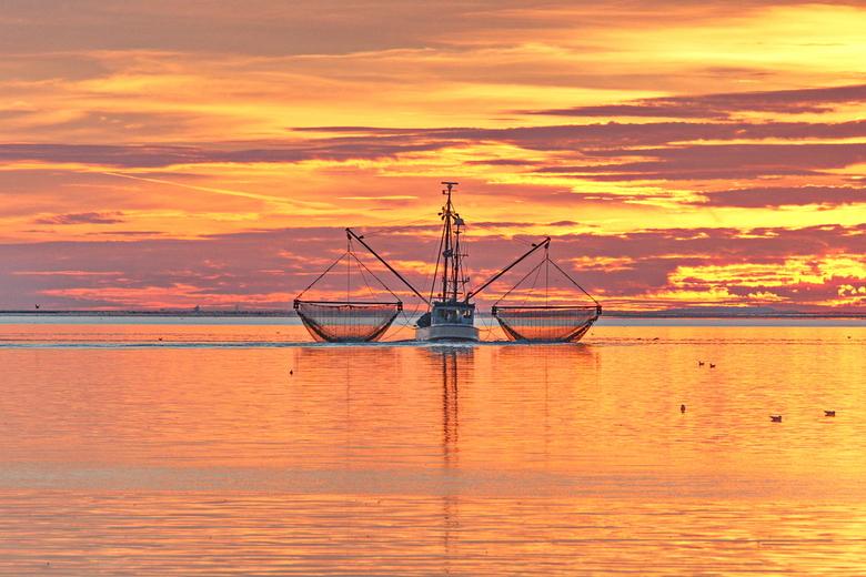 Kotter op het wad met zonsondergang - Tijdens het maken van een foto van een prachtige zonsondergang. Achter de zeedijk bij Sexbierum, kwam deze kotte