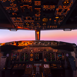 Sunset in the cockpit