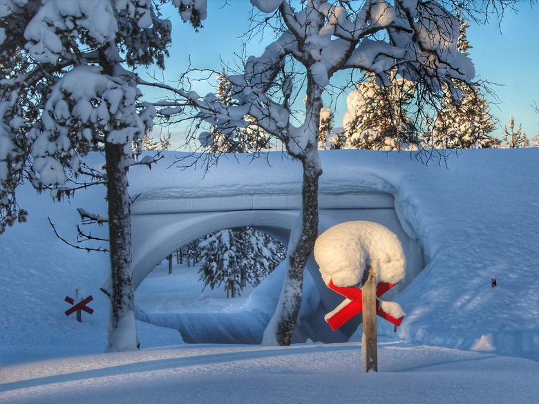 Crossing - Midden in de pittoreske natuur van Fins Lapland deze kruising (crossing) van wandelpaden, cross country tracks en sneeuwscooter routes van