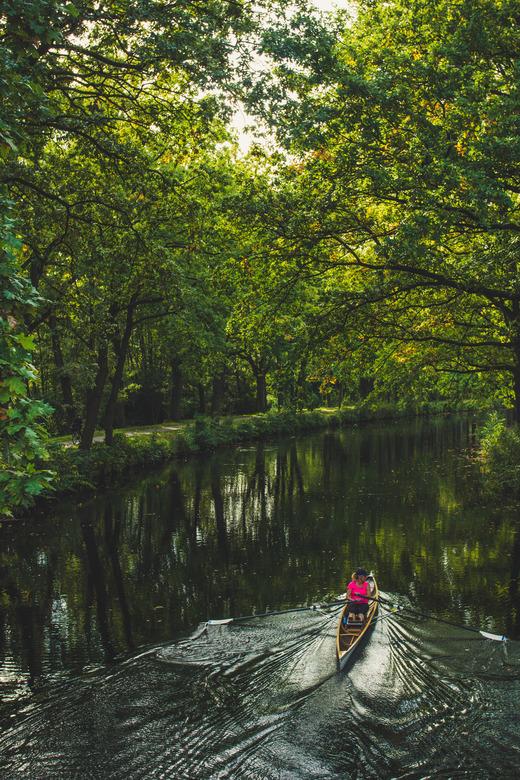 Lekker roeien!  - De herfst is aangebroken, de bladeren kleuren stralen in het water.