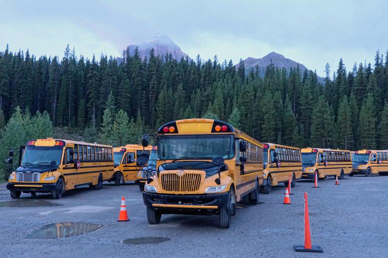 Schoolbusses - Schoolbussen staan klaar voor het vervoer van toeristen naar Lake Louise en Lake Moraine.
