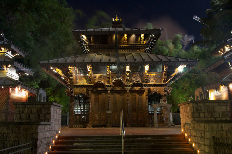 Nepalese Temple - Door de beweging in de bomen en de lichtjes vind ik de foto iets mysterieus hebben.