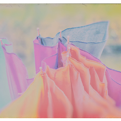 a broken colorful umbrella