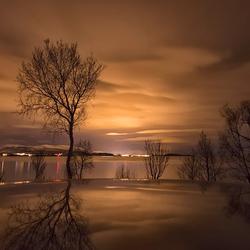 Avond boven Noord Noorwegen