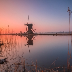 Colorful morning in Kinderdijk
