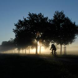 eenzame fietser in de herfst