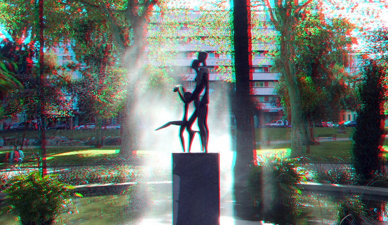 Parque de Malaga Spain 3D - Spian in 3d anaglyph red/cyan