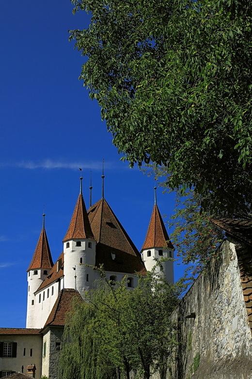 kasteel Thun 1 - Hier weer een overzicht foto van het kastel in Thun.<br /> Vond dit veen mooie compo met al dat groen erbij.<br /> Bedankt voor de