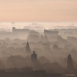 Ochtend mist in Rotterdam