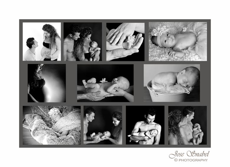 Newborn - Deze collage heb ik uit 2 foto reportages gemaakt, op verzoek van de ouders. Afgedrukt op hout.<br /> In de studio gefotografeerd, met stud