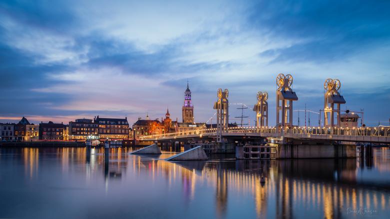 Stadsbrug - Stadsbrug Kampen, net na zonsondergang