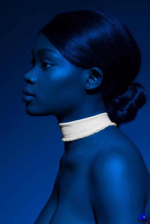 Blauw portret - Blauw portret van Elizabeth