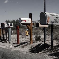 Postboxes along Utah trail in Twentynine Palms, CA