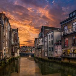 Zon onder in Dordrecht