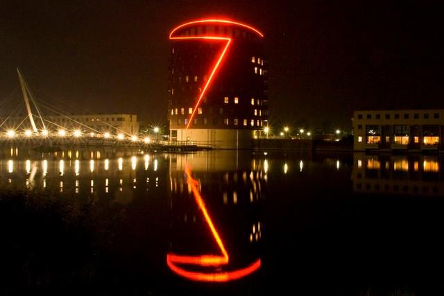 Getsewoudgebouw by night - Getsewoudgebouw in Nieuw-Vennep by night