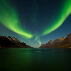 Noorderlicht in een Fjord