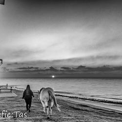 'Zonsondergang, een meisje en haar paard '