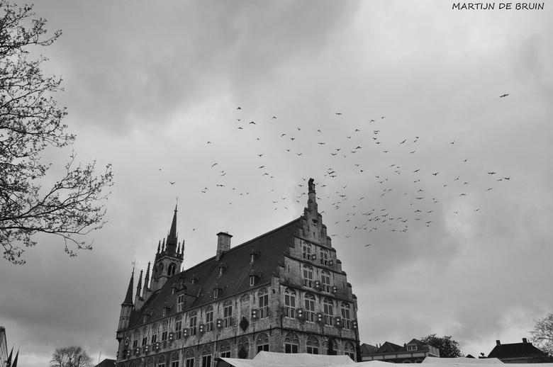 Zwart wit - Kerk in Gouda met de stads duiven en op de ondergrond marktkraampjes.