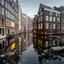 Smeltend ijs in de Amsterdamse grachten
