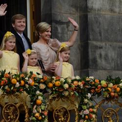 De nieuwe koning met gezin