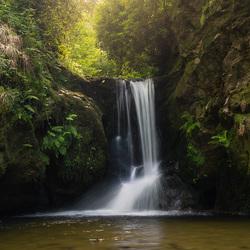 Waterval in een sprookjesachtig bos