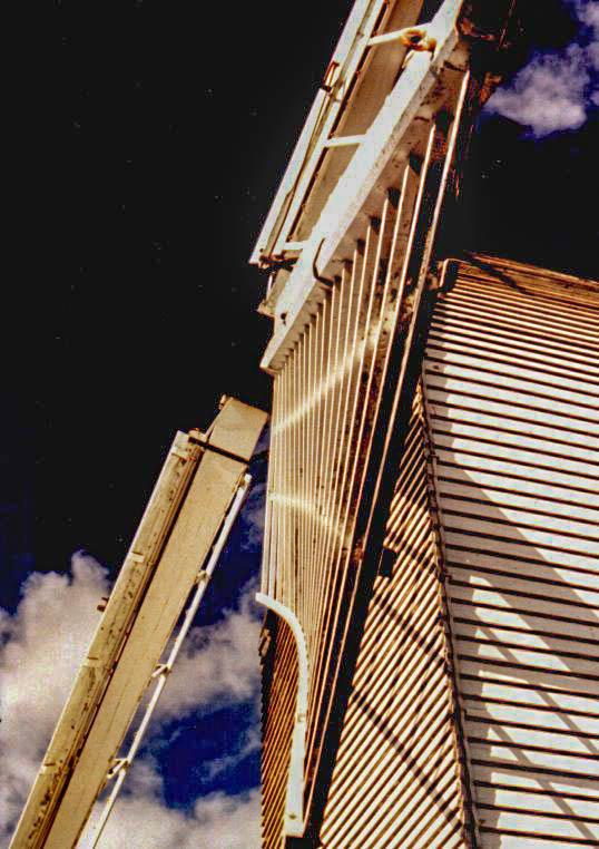 Detail van Bocking Windmill - Dit is een wat oudere analoge foto van een detail van een molen in de buurt van Braintree, in het graafschap Essex in En
