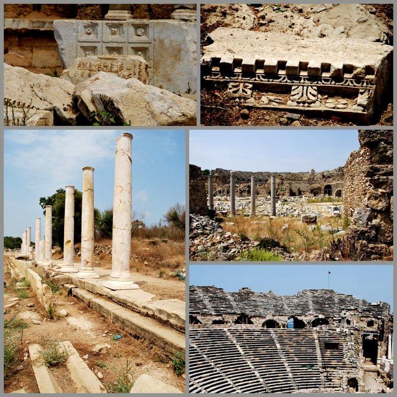 Turkije (9) Romeinse cultuur van Side - De tempelresten en &#039;t amfitheater in Side.<br />