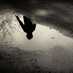 Reflection of a hiker in a puddle