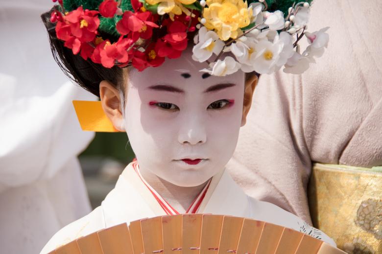 Japans meisje - Japans meisje tijdens een matsuri (festival) in Kyoto in Japan