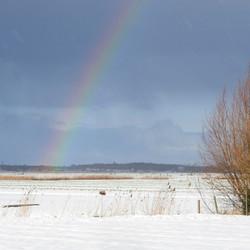 regenboog in de sneeuw