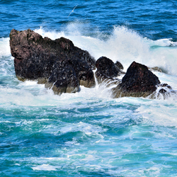 waves on the rocks