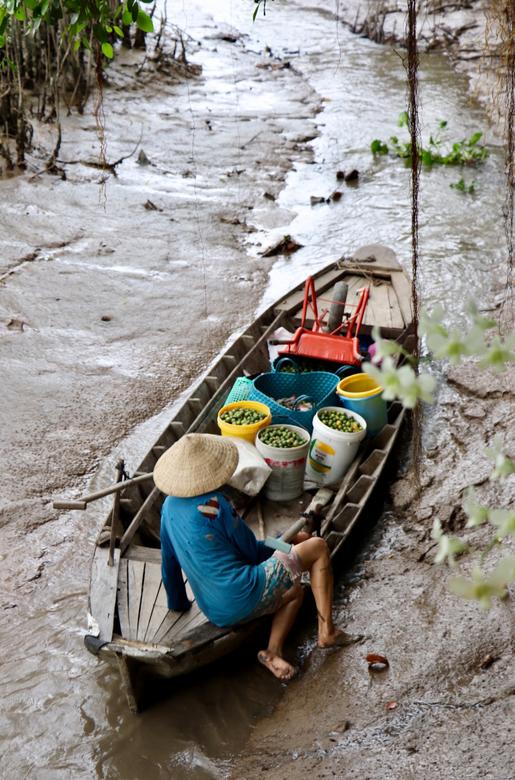 Er is altijd een weg...  - Tijdens onze reis in Vietnam kwam deze mevrouw langs ons verblijf...Een boot vol met spullen, zoekende naar een weg door de