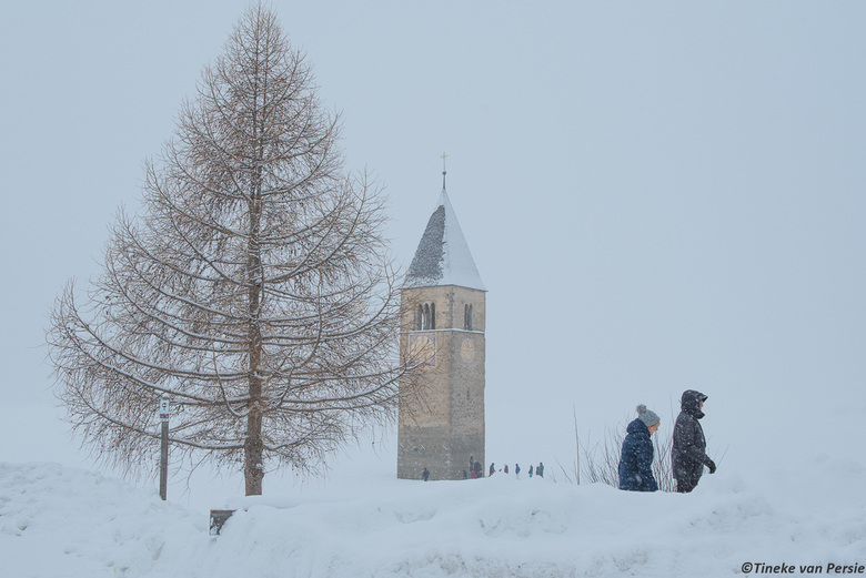 Lonely churchtower in the ice