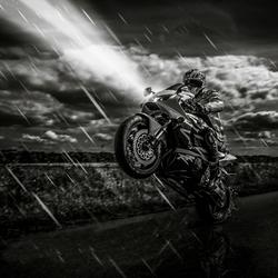 Wheelie in the rain