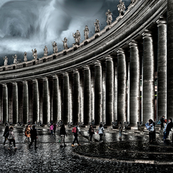 het Vaticaan in de regen