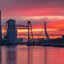 Magical sunset in Rotterdam