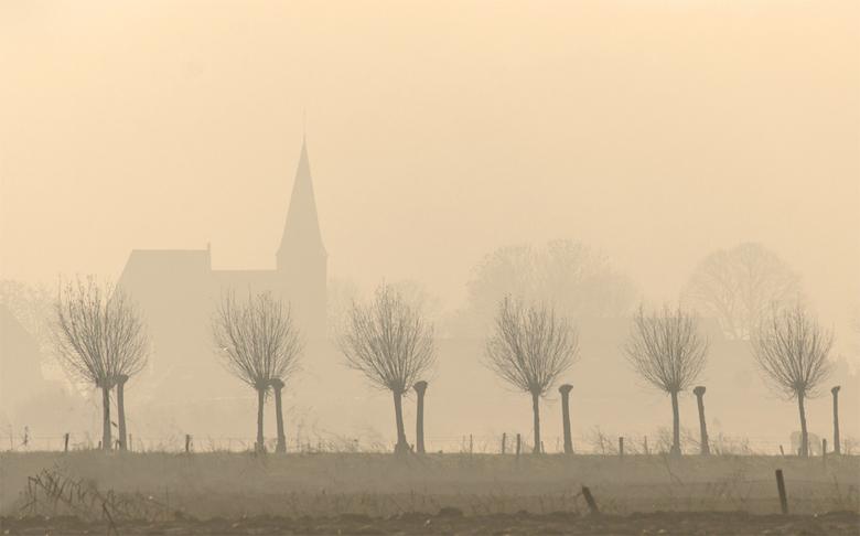 Ooij in de mist - Elke fietstocht door de Ooijpolder is weer anders, maar altijd mooi. Vanochtend hoopte ik op wat  zon, maar het bleef vrij mistig. D