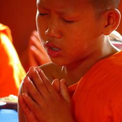 Jonge monnik bidt
