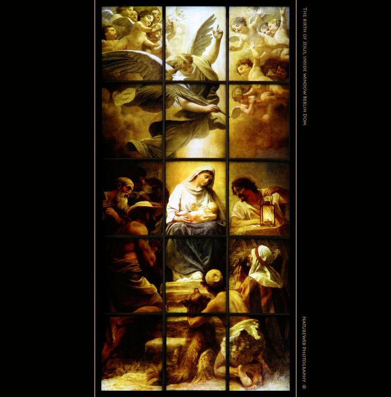 De Geboorte - In de Berliner Dom, een grote koepelkerk in Berlijn, hangen veel prenten, glas-in-lood ramen en anderssoortige afbeeldingen. Ik plaats d