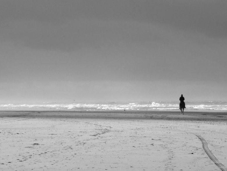 De eenzame rijder - Op het strand van Vlieland begin december.