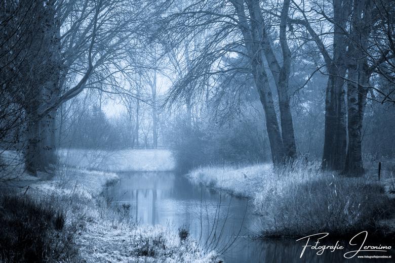 """Koude winterochtend bij de Watermolenbeek (Roosendaal) - Op een vroege mistige winterochtend heb ik de kou getrotseerd om een foto van """"mijn acht"""