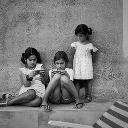 Kids and smartphones.