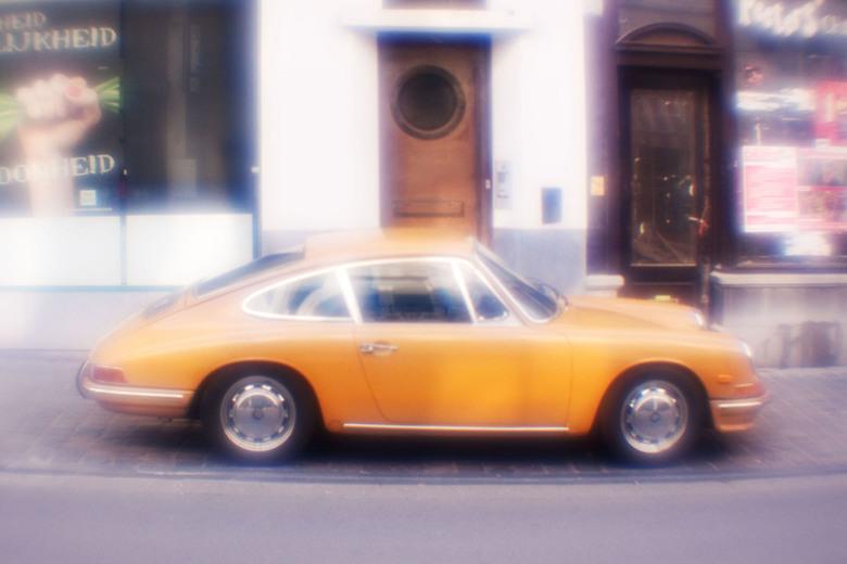 My Golden Porsche - In heaven, they drive golden Porsches. (lensbaby, plastic lens).