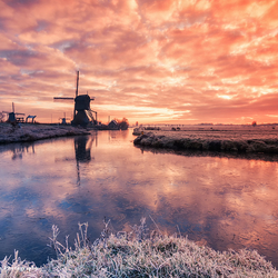 Winterse zonsopkomst in Kinderdijk
