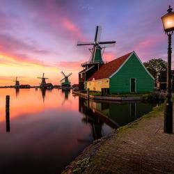 Sunset serenity at the windmill village