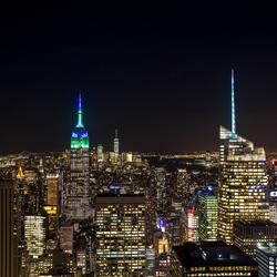 Als de avond valt in New York City.