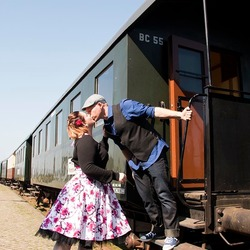 Kissing by the train