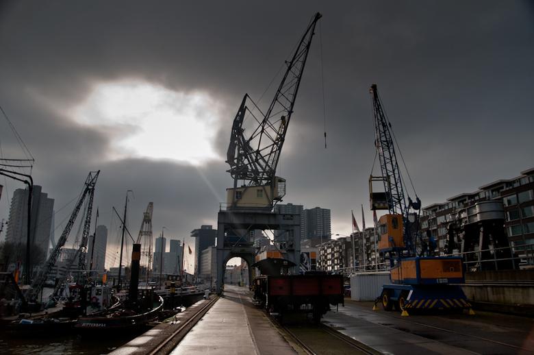 Port - Het haventje bij het Maritime Museum in Rotterdam.